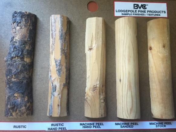 bvc lodgepole pine products sample board