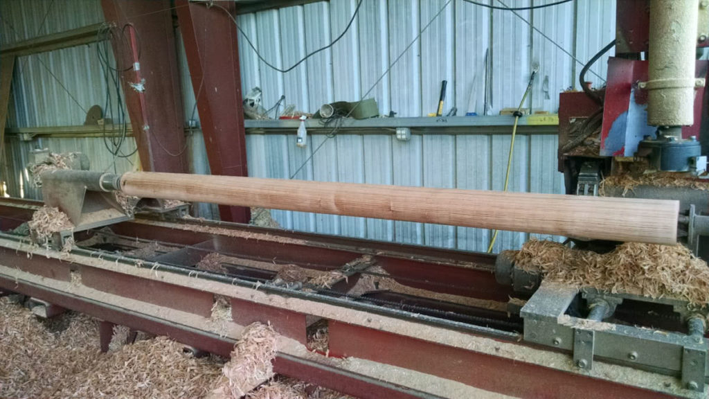 Log on Lathe at North Idaho Post & Pole