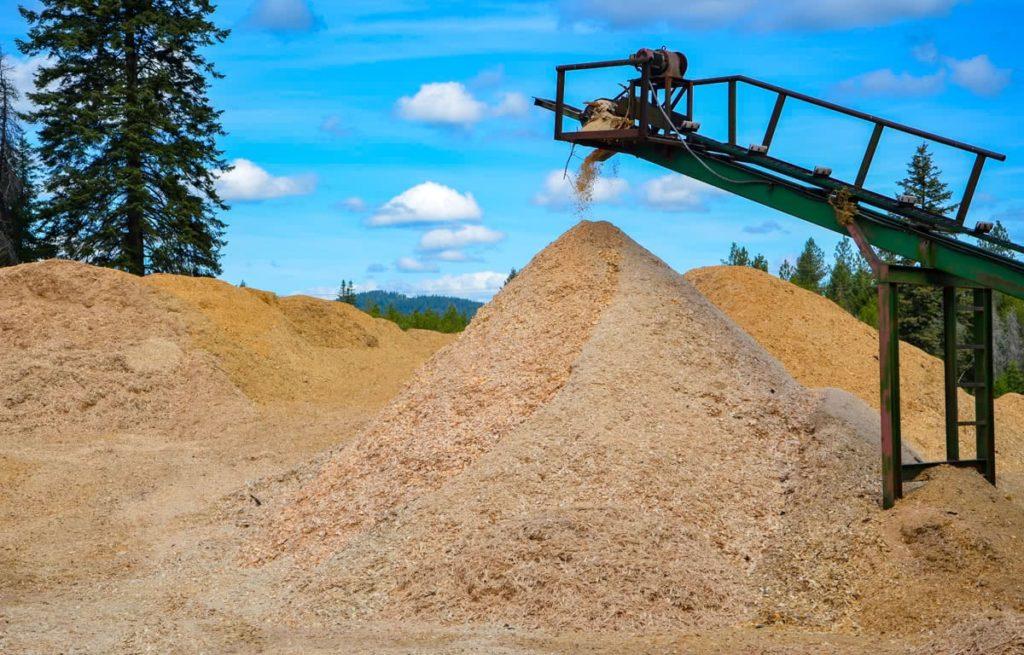 Wood chip pile at North Idaho Post & Pole