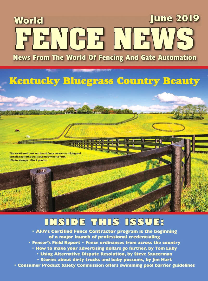 Front cover of World Fence News magazine