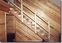 interior lodgepole pine stairs and handrailing