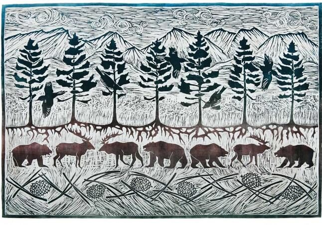 lodgepole pine and wildlife artwork