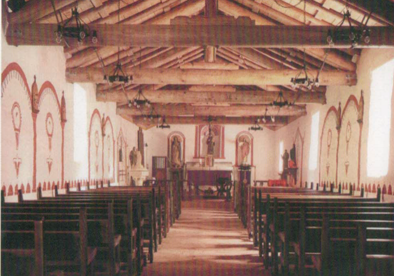 house logs used as decorative ceiling beams in church